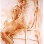 Nude on chair, 1989, 24 x 18 inches, conte on paper