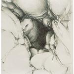 Rock Shelter I, 1985, 26 x 20 inches, graphite on rives lightweight